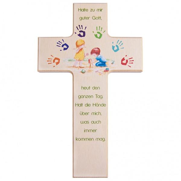 """Kinderkreuz """"Gottes Hände"""" Buche Natur 15 x 9 cm"""