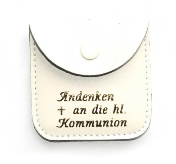Rosenkranz-Etui Kommunion Leder weiß 6,5 x 6,5 cm