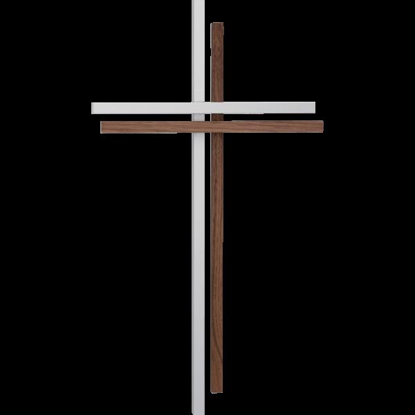 Kreuz aus Aluminium und Nussbaum 38 cm