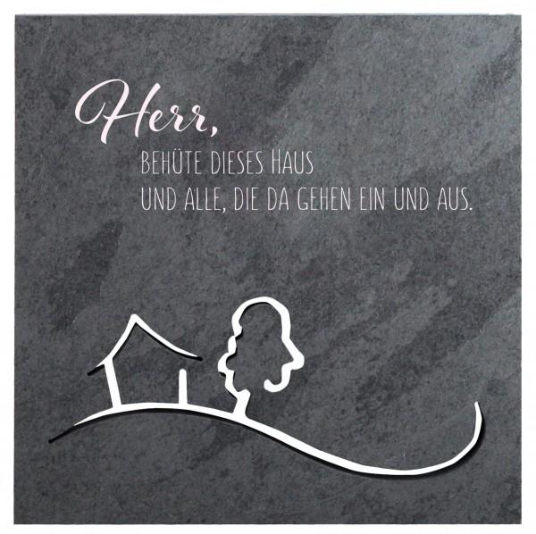 """Schiefer-Haussegen """"Herr, behüte dieses Haus und alle..."""" Motiv durchbrochen Grau 14,5 x 14,5 cm"""