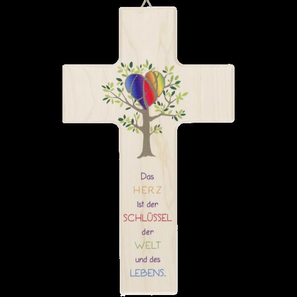"""Kinderkreuz """"Das Herz ist der Schlüssel der Welt und des Lebens"""" Ahorn Natur 20 x 12 cm"""