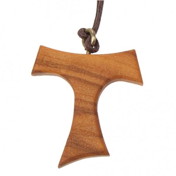 Halskette mit Tau-Kreuzanhänger aus Olivenholz und Kordel 3 cm