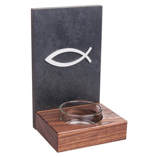 """Schiefer-Nussbaum Weihwasserkessel """"Fisch"""" mit Becken aus Glas Grau 15 x 9 cm"""