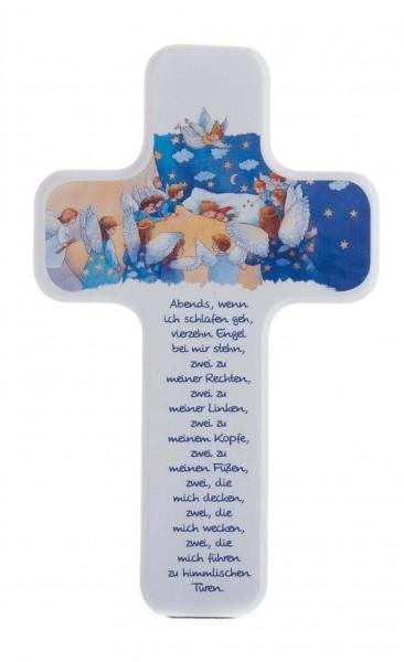 """Kinderkreuz """"Vierzehn Englein"""" Buche Weiß 18 x 11 cm"""