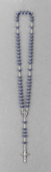 Rosenkranz mit Wachsperle gekettelt ca. 38 cm Dunkelblau