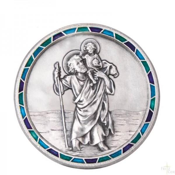 Autoplakette mit Christophorus-Motiv und Mosaik-Rand Blau