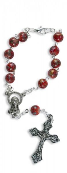 Zehner-Rosenkranz Rot/Bunt marmoriert