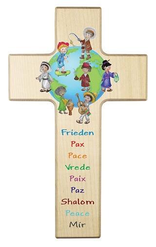 "Kinderkreuz ""Frieden, Pax, Pace, Vrede..."" Ahorn Natur 20 x 12 cm"