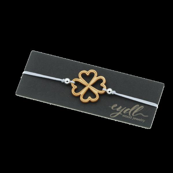 """Armband aus Holz """"Kleeblatt"""" Ahorn"""