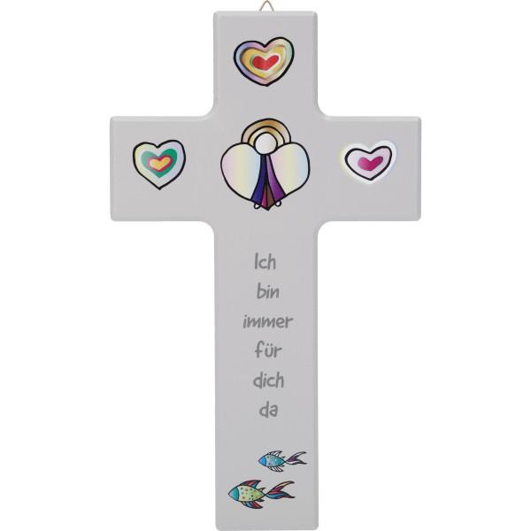 """Kinderkreuz """"Ich bin immer für dich da"""" Ahorn Grau 20 x 12 cm"""