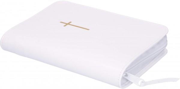 Gotteslobhülle mit Reißverschluß und Kreuz-Symbol Kunstleder Weiß