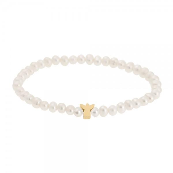 Perlenarmband mit Schutzengel vergoldet